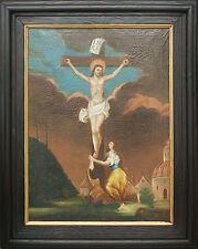 Große Kreuzigung mit Maria Magdalena, 18/19 Jhdt, Originalrahmen, signiert