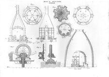 Stampa antica PRODUZIONE STOVIGLIE attrezzature di vario tipo 1848 Old print