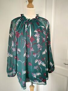 Hush 16 Phoenix  Green metallic Stripe Blouse Nouveau Floral superb condition