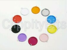 "10 x COLOURED 1"" BOTTLE CAPS WITH SPLIT RINGS FLATTENED IMAGES KEYRINGS CRAFTS"