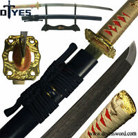 Fully Handforged Damascus Folded Steel Blade Japanese Samurai Katana Sword Sharp