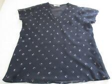 M&S DARK NAVY DIAMOND ISH PRINT CAPPED SLEEVED CHIFFON SUMMER BLOUSE TOP UK 12