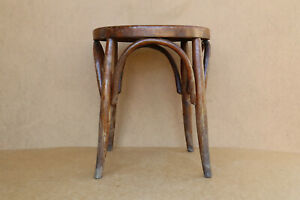 Old Antique Vintage Wooden Wood Thonet Mundus Style Bentwood Chair Stool 1950's