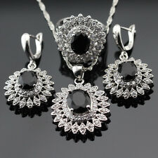 Big BLACK SAPPHIRE and WHITE TOPAZ 925 Silver Necklace Earrings Ring Set