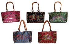 10 Cotton Ethnic Elephant Rajasthani Style Tote Handle Purse Wholesale Lot Bags