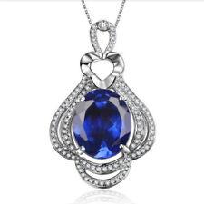 Real 14KT White Gold 2.45Ct Natural Blue Tanzanite EGL Certified Diamond Pendant