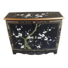 HAND PAINTED ORIENTAL FURNITURE - HANDMADE BLACK LACQUER BLOSSOM CABINET