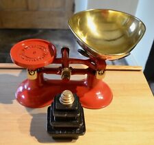 VINTAGE ENGLISH FREDERICK HILL RED KITCHEN SCALES 10 METRIC STACKING WEIGHTS