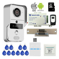 Wireless Wifi Video Intercom Door Phone RFID Doorbell Strike Lock Remote Unlock