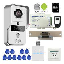 Wireless Wifi Video Intercom Door Phone RFID Doorbell Strike Lock Remote Unlock