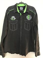 Buckle American Fighter Button Down Shirt Men XXL Gray Green Embroidered