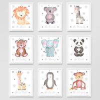 Animal Nursery Prints Set Grey Star Childrens Baby Room Pictures Wall Art Decor
