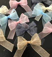 15 Small 3.5cm Blush Pink ,Caramel, Light Blue , Grey & Cream Organza Bows/Baby