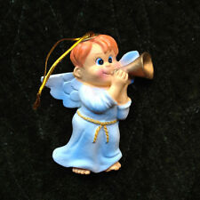 Bugling Angel Christmas Ornament with Redhead Boy, pastel , $10=Free Shipping