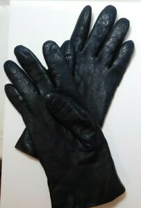 Ladies Size 7 Black Genuine Leather Lined 100% Cashmere Warm Winter Gloves
