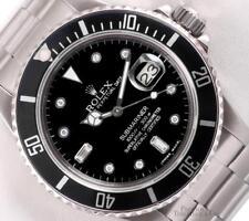 Rolex Submariner Date 16610 Steel 40mm-Black Baguette Diamond Dial-Black Ceramic
