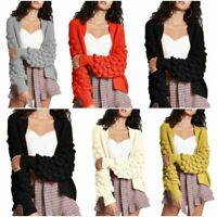 Ladies Chunky Knitted Oversize Baggy Bobble Sleeve Open Cardigan