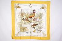 GUCCI 87 cm Large format Scarf 100% Silk Duck Pond GG logo Shawl Yellow 3002k