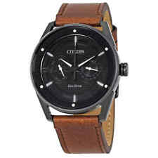 Citizen CTO Eco-Drive Black Dial Brown Leather Men's Watch BU4025-08E