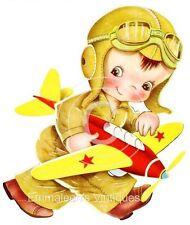 Vintage Image Shabby Nursery Airplane Boy Waterslide Decals KID407