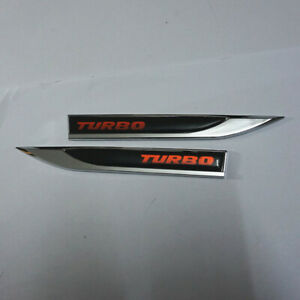 Pair Black Red TURBO Rubber Metal Fender Emblem Sticker Badge Decal Engine Coupe