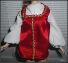 TOP BARBIE MATTEL DOTW  PRINCESS OF IMPERIAL RUSSIA  RED & GOLD BLOUSE SHIRT