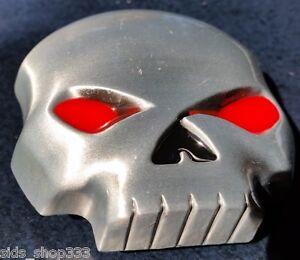 """♈ SKULL BLOOD RED EYES !  ♈ Antique Silver Color  3""""x 2.5"""" Skeleton Belt Buckle"""