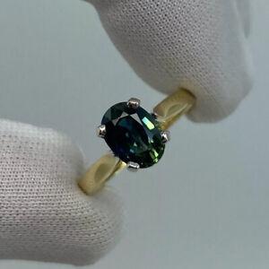 RARE Bi Colour Sapphire Vivid Blue Green 1.46ct Oval Cut 18k Gold Solitaire Ring