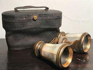 Antique Mother of Pearl IRIS PARIS OPERA GLASSES with CASE, Circa 1870s - 1890s