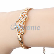 *UK* ladies lovely gold double heart crystal bracelet Charm Chain GIFT