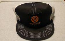 Vintage New Holland Tractor Equipment Trucker Snap Back Hat Cap Black White