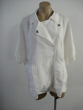 EILEEN FISHER White Linen Stretch Short Sleeve Jacket Top Plus 1X NWT $218
