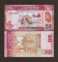 SRI LANKA 20 RUPEES 2015 Replacement Z/10 UNC BUTTERFLY DANCER SHIP CEYLON NOTE