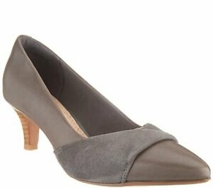 New Clarks Women's Linvale Vena Pump Heels Leather Nubuck Gray Size 9