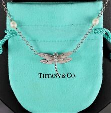 Tiffany & Co 18K White Gold Round Diamond Dragonfly Pearl Chain Pendant Necklace