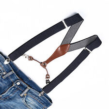 Blue Brown Braces Lozenge Suspenders Unisex Adjustable Clip-on Men Women BD638