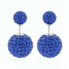 Shamballa stud earrings double sided 14mm & 8mm round blue crystal beads 925