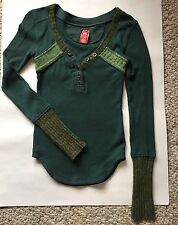 Free people size XS waffle knit top with sweater cuffs green thermal    qib