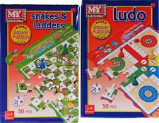 ** 2 X LUDO & SNAKES & LADDERS JIGSAW PUZZLES & BOARD GAMES 50 PCS 2-4 PLAYERS