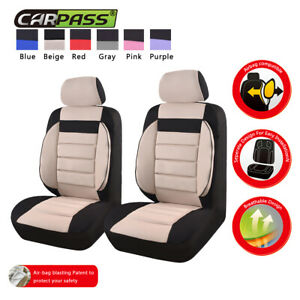 Universal 2 front Car Seat Covers Black Beige Soft Sofa For Van Truck Toyota 6pc