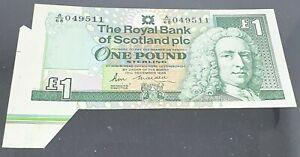 FABULOUS RARE ERROR EXTRA PAPER/COLOUR BAR ROYAL BANK OF SCOTLAND 1988  £1 UNC