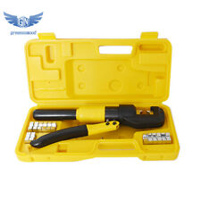 10 Ton Hydraulic Crimper Crimping Tool/w 8 Dies Wire Battery Cable Lug Terminal