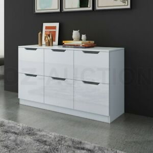 New 6 Chest of Drawers Tallboy Dresser Table Storage Bedroom Gloss Cabinet White