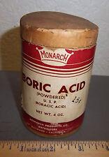 vintage Monarch Boric Acid 4 oz cardboard container, great graphics & colors