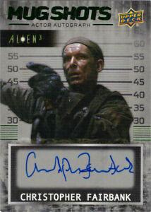 Upper Deck Alien 3 Auto Autograph Mug Shots Christopher Fairbank Green Parallel