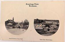 BRISBANE, GREETINGS FROM BRISBANE SOUTH BRISBANE NORTH QUAY EARLY 1900s POSTCARD