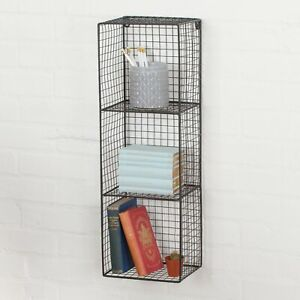Industrial Metal Wire 2 - 3 Tier Black Shelf Rack Vintage Basket Wall Mounted