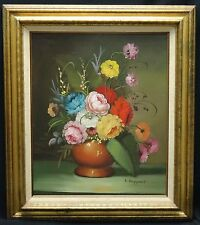 "IMPRESSIVE 70's SIGNED K. RUPPERT STILL LIFE FLORAL BOUQUET OIL PAINTING 20""x24"""