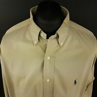 Polo Ralph Lauren Mens Vintage THICK Oxfrod Shirt 2XL Long Sleeve Beige Classic