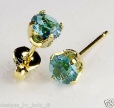 Studex Sensitive Gold 5mm December Blue Green Zircon Birthstone Stud Earrings